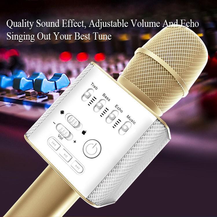 [FREESHIP] Micro kèm loa hát Karaoke Q9 (Vàng) -DC1808