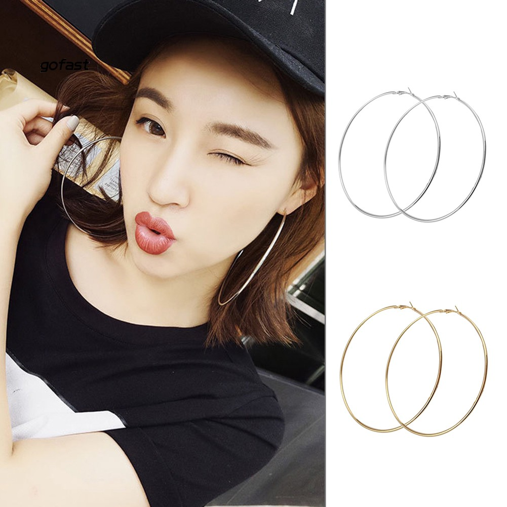 Fashion Women Big Circle Charm Statement Hoop Earrings Evening Party Jewelry