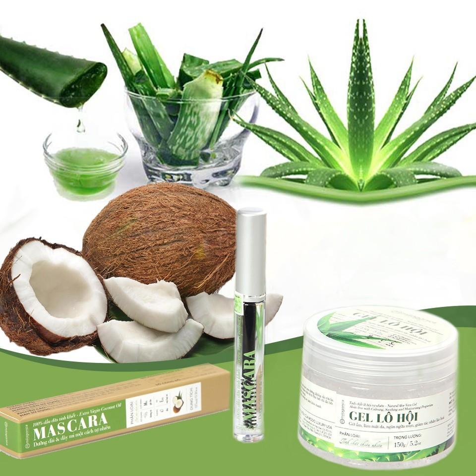 Combo Gel Lô hội (150g) + Mascara dầu dừa(5ml)