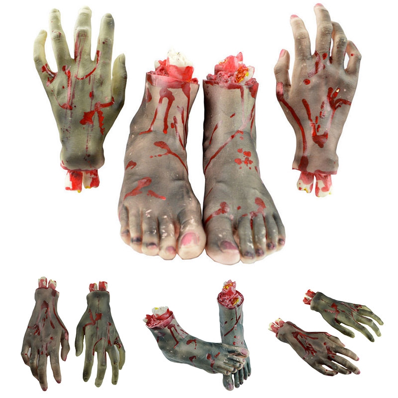 Halloween Scary Props Bloody Faked Human Hands Foot Gory Severed Body Part Decor