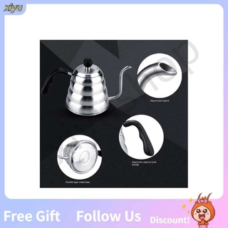 Xiyushop 1.2L Stainless Steel Household Pour Over Drip Coffee Gooseneck Kettle Teapot