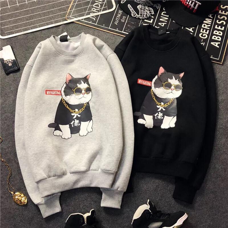 Áo Sweater Unisex In Hình Mèo Boss