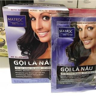 Dầu gội nhuộm tóc Gội Là Nâu Matrix 1 hộp 10 gói