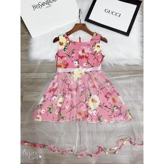 {tặng vòng cổ}Váy Lanh Phối Ren Cổ Cho Bé Gái từ 12-25kg