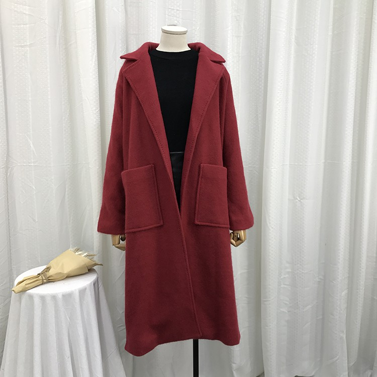 L@27 3.3 kg autumn and winter women's buckleless long-sleeved long woolen coat c