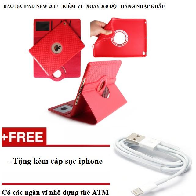 Bao da kiêm ví xoay 360 độ tắt mở màn hình cho ipad 2017 tặng kèm cáp sạc iphone- Màu đỏ - 3158498 , 980517200 , 322_980517200 , 295000 , Bao-da-kiem-vi-xoay-360-do-tat-mo-man-hinh-cho-ipad-2017-tang-kem-cap-sac-iphone-Mau-do-322_980517200 , shopee.vn , Bao da kiêm ví xoay 360 độ tắt mở màn hình cho ipad 2017 tặng kèm cáp sạc iphone- Màu đỏ
