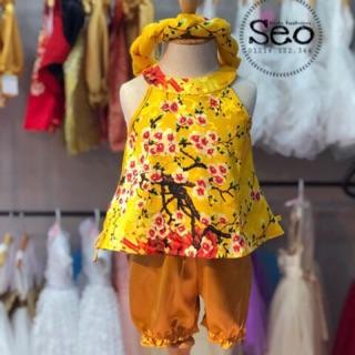 Sét bộ gấm bé áo váy mấn