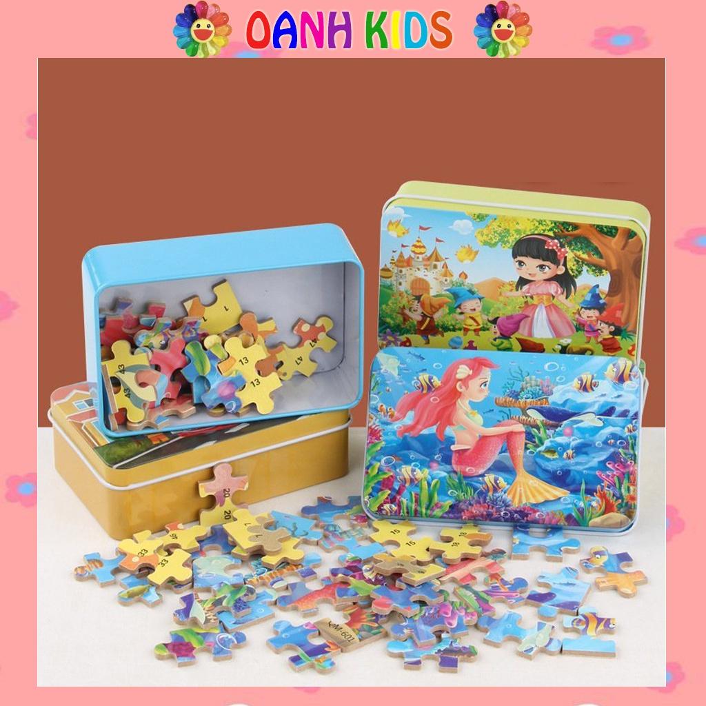 Bộ đồ chơi xếp hình 60 miếng trong hộp chủ đề truyện cổ tích cho bé trai bé gái, đồ chơi giáo dục