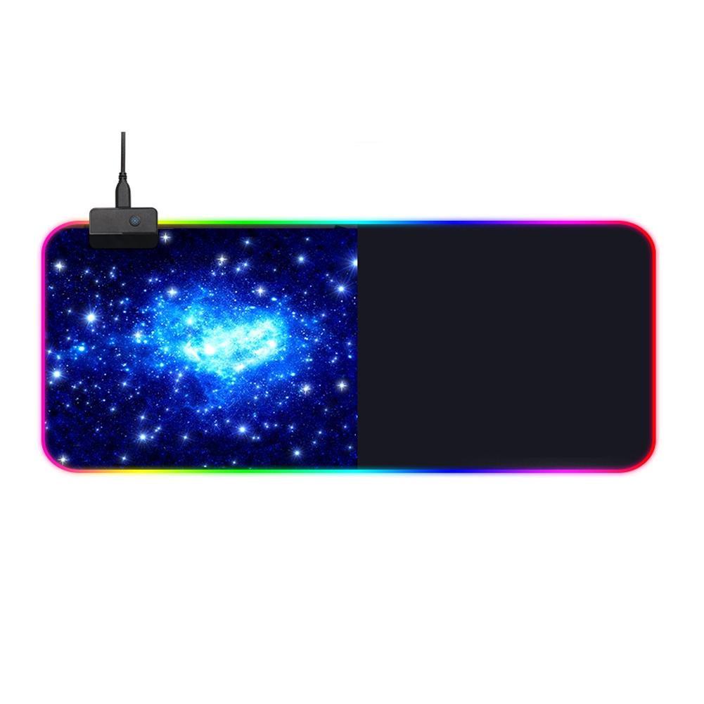 RGB LED Lighting Anti-slip Gaming Rubber Locking Edge Rectangle Large Size Mouse Pad