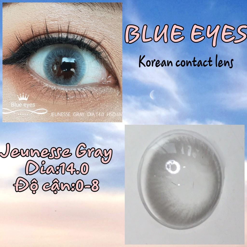 Kính áp tròng Hàn Quốc BLUE EYES JEUNESSE GRAY - Lens cận thời trang
