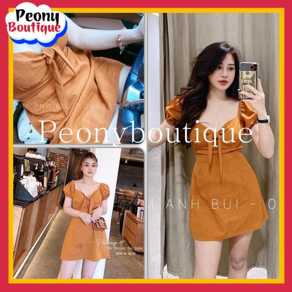Váy Nơ Ngực Nâu Tây Nữ 🌸 Đầm bánh bèo thiết kế lưng chun babydoll đũi xước tay bồng tiểu thư SIÊU HOT 🌸