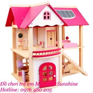 Nhà búp bê Barbie 2 tầng bằng gỗ cho Bé [ Nhà có nội thất]