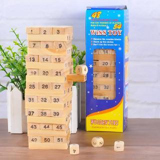 Bộ đồ chơi rút gỗ Wiss Toy 54 thanh (5 cm x 5cm x 16.5cm)