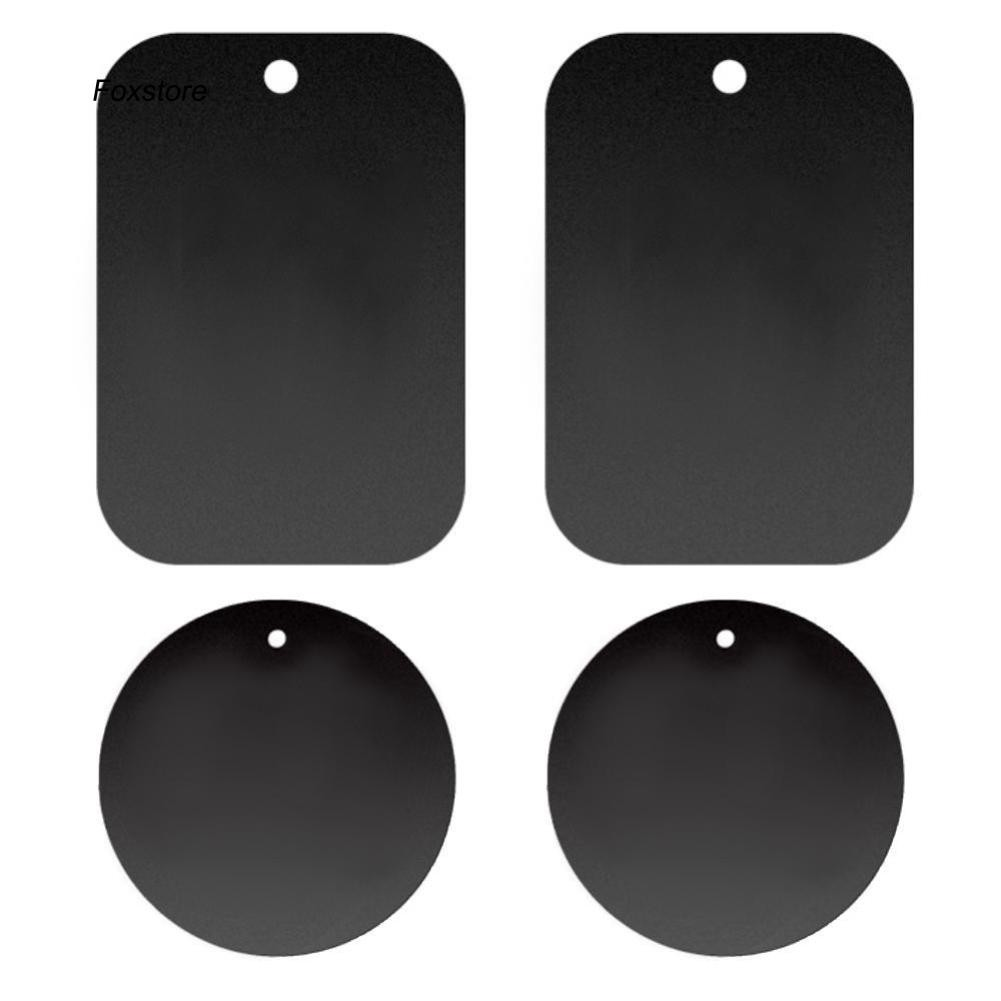 FXTE_4Pcs Round Rectangle Mobile Phone Magnetic Car Mount Holder Metal Plate Sticker