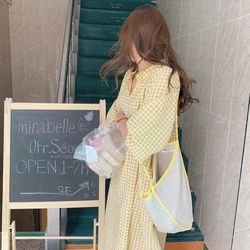 Váy suông dài Vintage Hàn Quốc kẻ sọc caro vàng nhẹ nhàng thắt eo đơn giản (MẪU MỚI 2020)