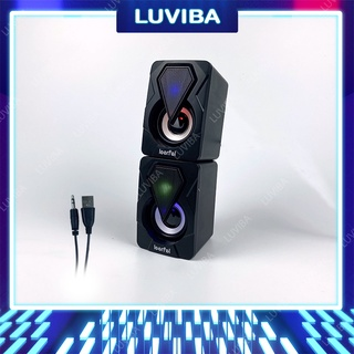 Loa máy tính vi tính mini laptop LED để bàn bass giá rẻ LUVIBA LO46