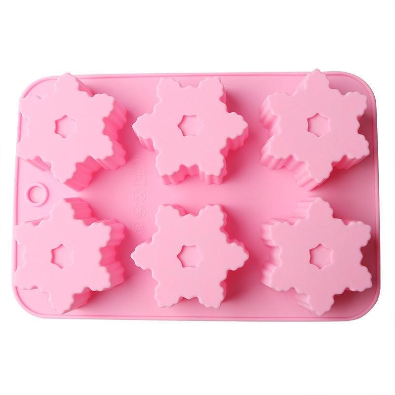 Xmas Snowflake Chocolate Mold Soap Silicone Ice Tray Cake Christmas Decor Use