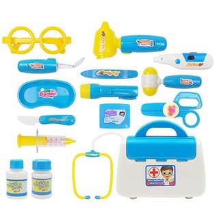 15Pcs Children Simulation Doctor Appliance Kit Medicine Cabinet Pretend Play Toy