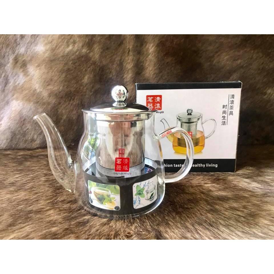 Bình lọc trà thuỷ tinh chịu nhiệt cao cấp lõi lọc Inox 304 QingYuan MingQi 650ml