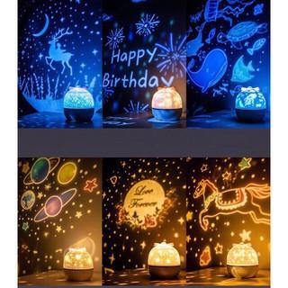 Đèn ngủ chiếu trần 3D đổi màu xoay tự động, đèn ngủ chiếu sao, đại dương, cổ tích LED lãng mạng