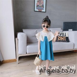 ⓗღ✯Little Girl Summer Cotton Dress Lotus Leaf Design Loose Patchwork Design Dress