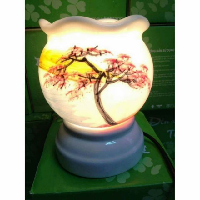 Đèn xông tinh dầu gốm sứ bát tràng size to đại( Tặng kèm 01 bóng thay thế)