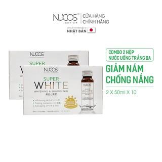 Combo 2 Hộp Nước uống trắng da giảm thâm nám chống nắng Nucos Super White 2 Hộp x 50ml x 10 chai thumbnail