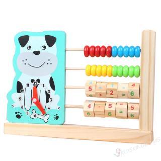 Ki∟Cartoon Animal Clock Abacus Wooden Digital Calculation Educational Toy∠