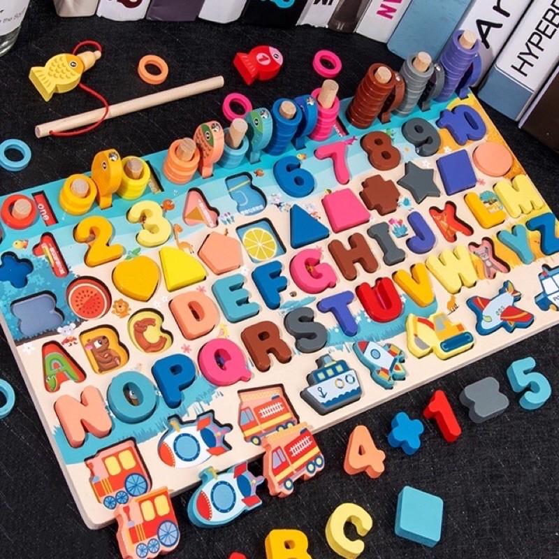 Bộ đồ chơi gỗ thông minh 6in1 luyện trí nhớ, kích thích tư duy, sáng tạo cho bé, câu cá giải trí, đồ chơi bảng chữ cái