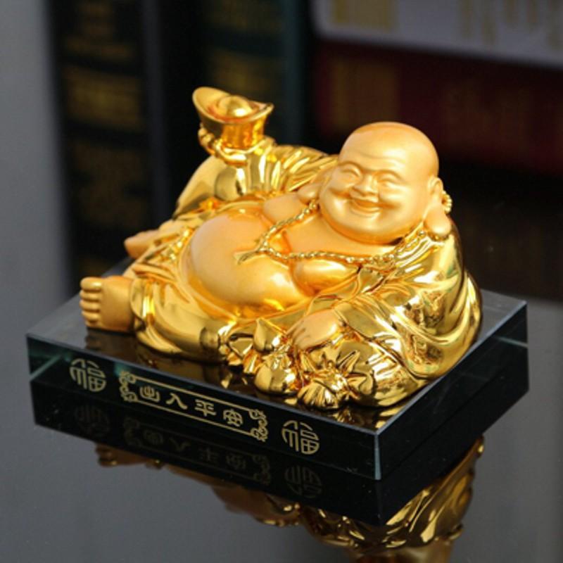 Tượng phật di lạc mạ vàng mang lại may mắn