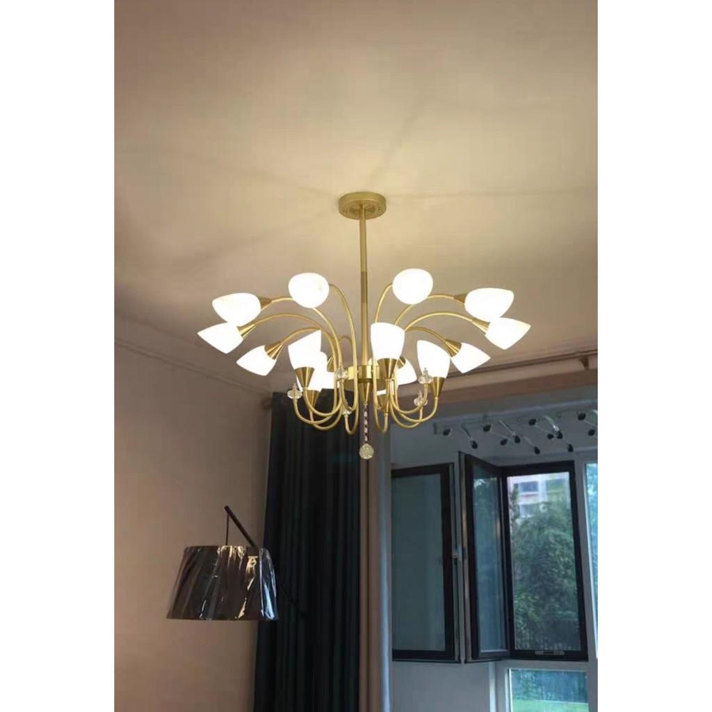 Đèn chùm trang trí hiện đại 81768-15 Thân đèn màu vàng,Tặng Kèm 15 bóng led cao cấp