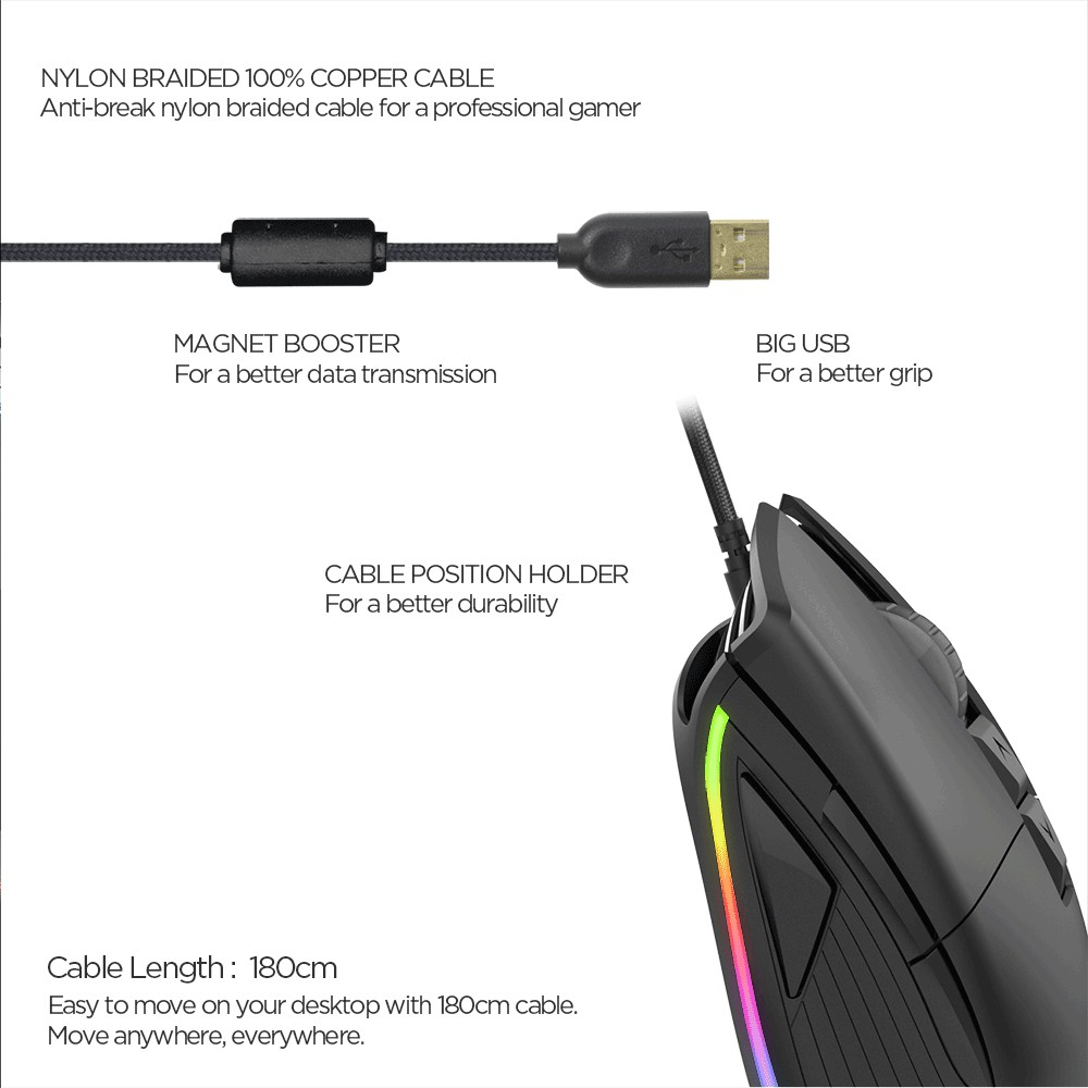 Chuột chơi Game FANTECH UX1 siêu bền 50 triệu lần click, DPI 16000, LED RGB, kết nối thông qua jack cắm USB