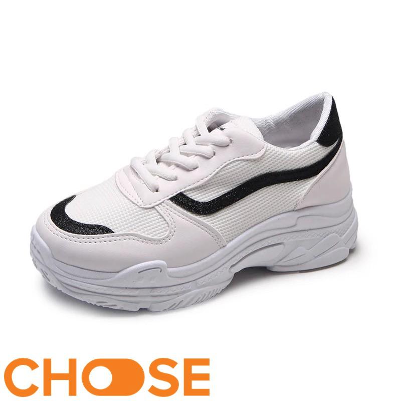 Giày Nữ Sneaker Choose Độn Đế Màu Trắng Mẫu Mới Mùa Hè Phối Viền Phong Cách Mới G29K7