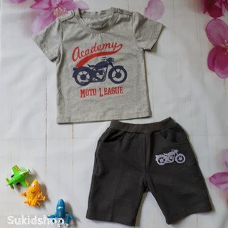 Quần áo trẻ em size đại - Bộ thun size đại xuất khẩu bé trai hình xe đạp