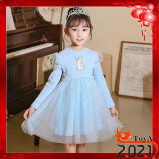 Đầm dài tay Toya phong cách công chúa Elsa thời trang cho bé gái 3-10 tuổi