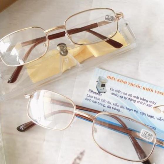 Kính lão / kính viễn thị / tròng kính thuỷ tinh gọng titan cứng