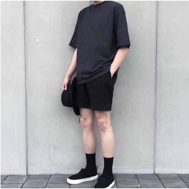 ComBo Áo thun Oversize và quần Short Kaki All Black