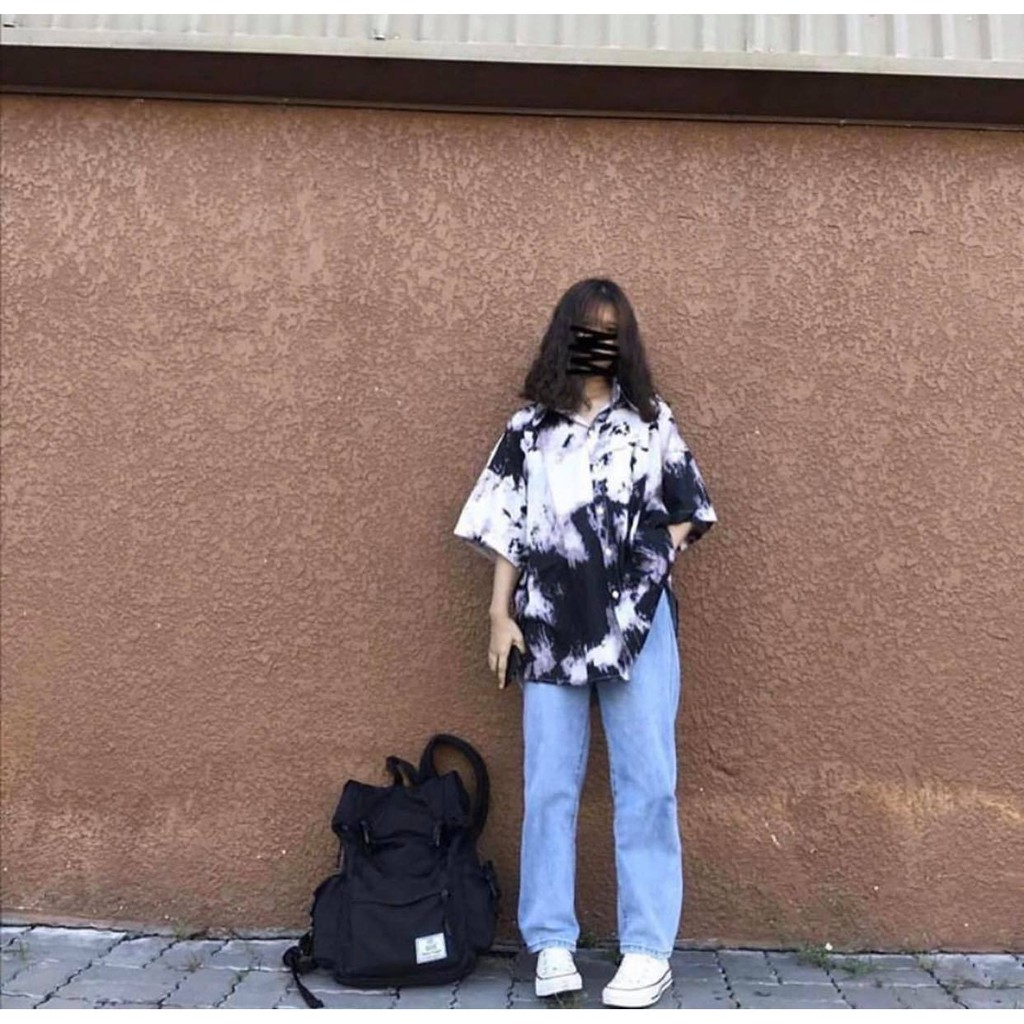 Áo sơ mi loang đen form rộng bigsize, somi cộc tay ulzzang nam nữ unisex cá tính