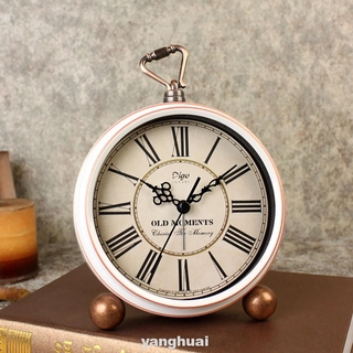 Time Display Exquisite Metal Battery Operated Gift Living Room Roman Numerals Desktop Ornaments Home Decor Vintage Clock