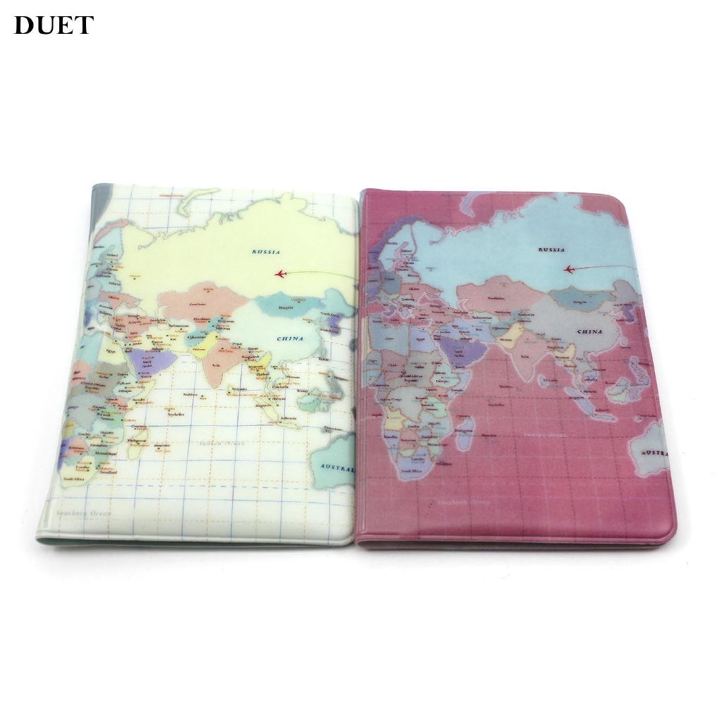 Map Pattern Passport Holder PVC  Credit Card Organizer Travel  Wonderful