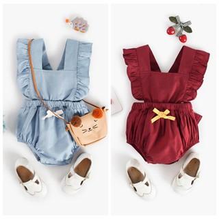 Bộ áo liền quần màu trơn cộc tay xinh xắn dành cho bé gái