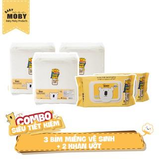 03 Gói miếng lót chống thấm Moby 10 miếng 02 Bịch khăn ướt Moby 80 tờ