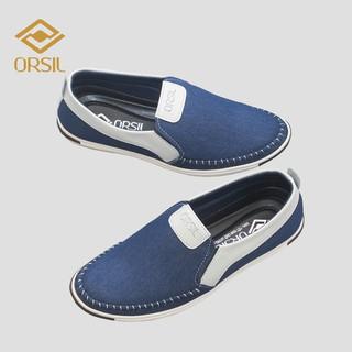 [Mã FAGREEN55 giảm tới 30K đơn 99K] Giày lười nam vải jean ORSIL màu xanh năng động - MD1