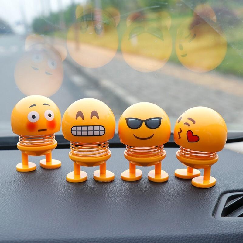 Emoji Spring Shaking Head Dolls Car Ornaments Cute Smiley Bobblehead Nod Funny Creative Bounce Toys