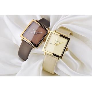 [HÀNG CHÍNH HÃNG] Đồng hồ nữ EVERYONE mặt vuông dây da cao cấp size 36mm ( ảnh thật dưới cuối) thumbnail