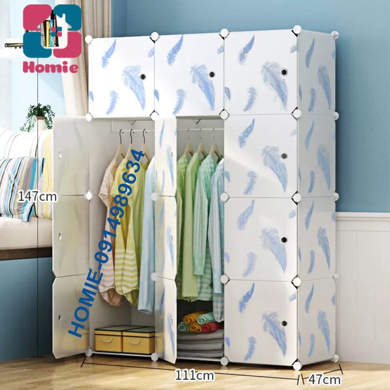 Tủ nhựa ghép 12 ô loại to sâu 47cm - Tủ quần áo đa năng thời trang