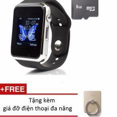 Đồng hồ thông minh gắn được sim, thẻ nhớ a8 tặng kèm combo thẻ nhớ 8g + gía đỡ chiếc nhẫn( màu đen b
