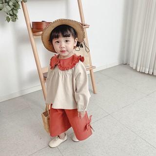 HÌNH THẬT - Set quần áo bé gái kiểu Hàn Quốc Vintage