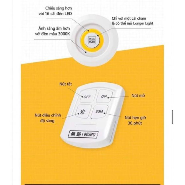 Sẵn Bộ ba đèn led mini có điều khiển Đèn led dán tường thông minh