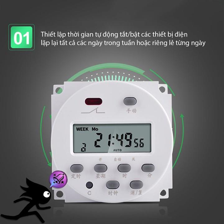 Công tắc hẹn giờ lập trình điện tử có pin chờ - Lưu được 17 lần bật tắt trong ngày